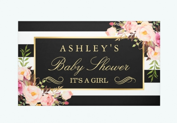 Vintage Floral Black White Stripes Banner