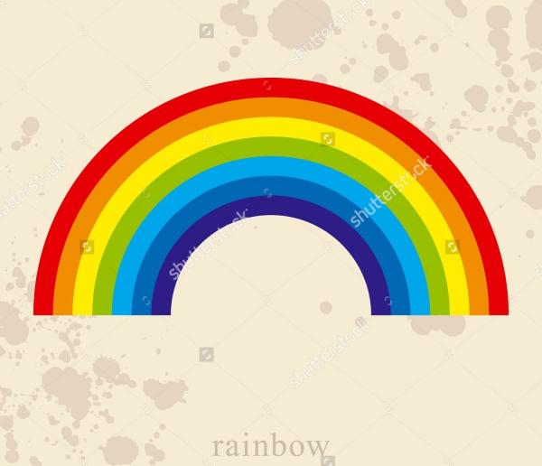 Vintage Rainbow Line Vector