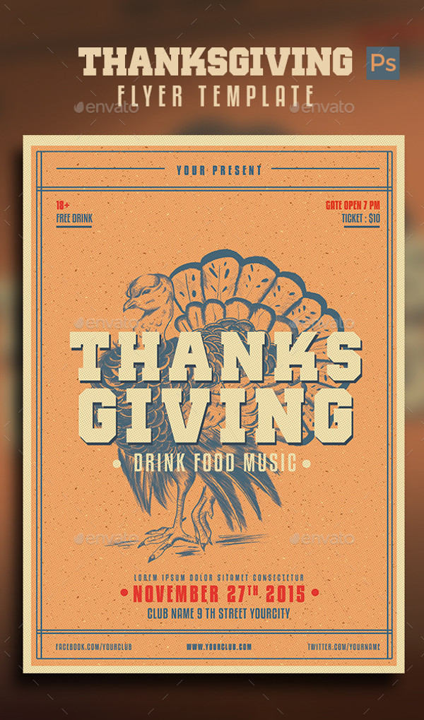 Vintage Thanksgiving Flyer Design