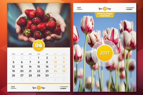 Wall Calendar 2017 Photo Design Template