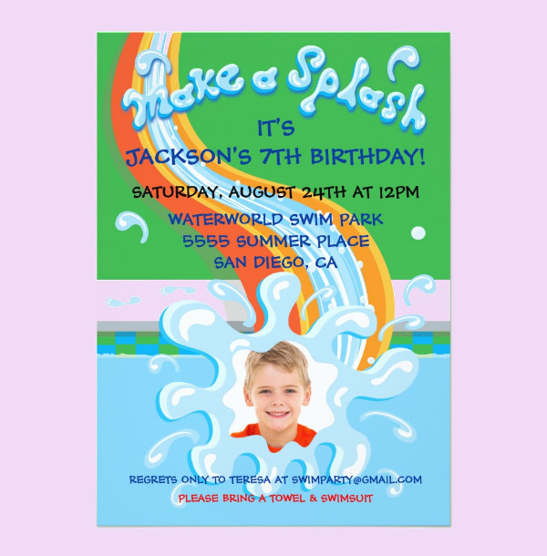water slide park pool party invitation