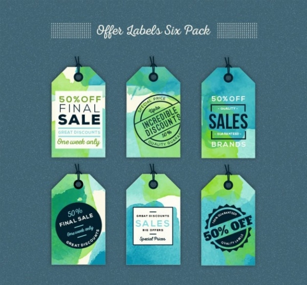 Watercolor Offer Labels Tag Pack