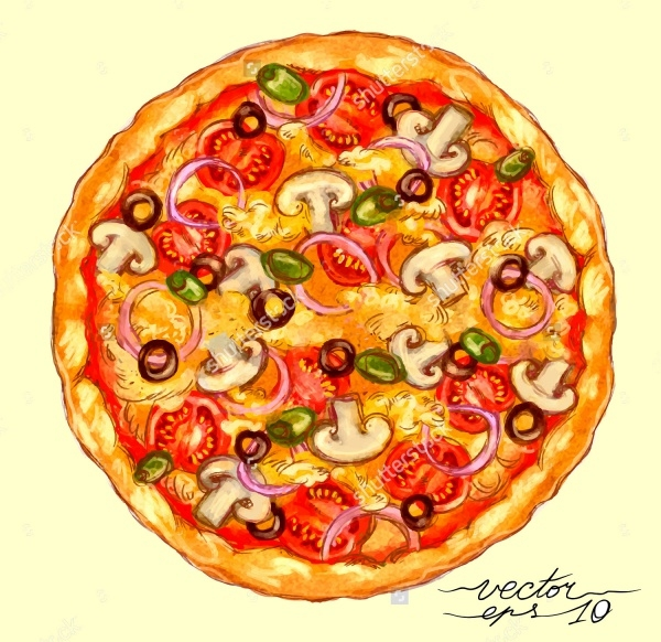 Watercolor Style Pizza Vector