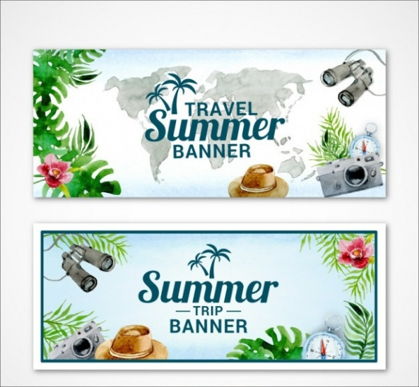 Watercolor Travel Summertime Banner