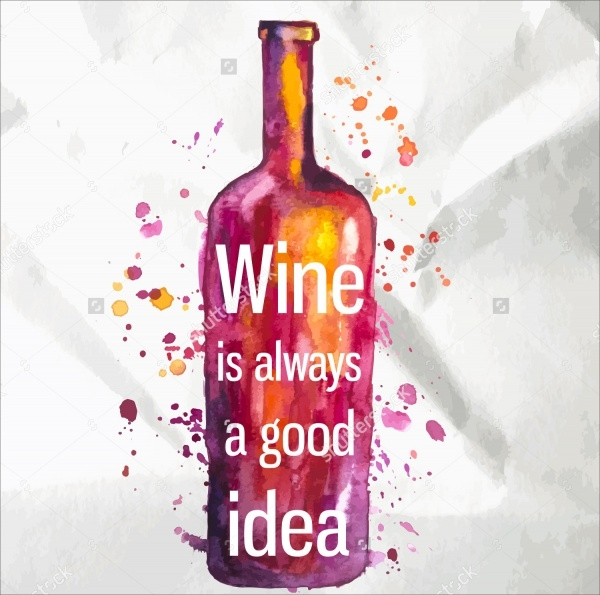 Watercolor Wine Bottle Vector