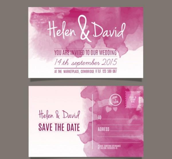 Watercolor wedding invitation in post card