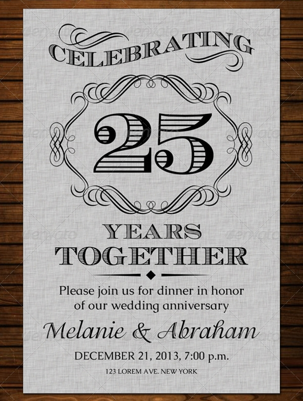 Wedding Anniversary Invitation Card Design
