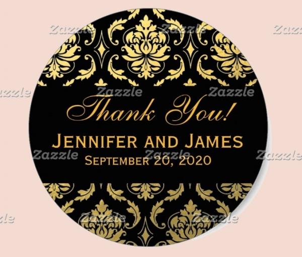 Wedding Damask Round Label