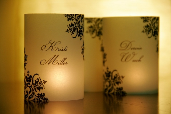 Wedding Name Place Card Luminaries