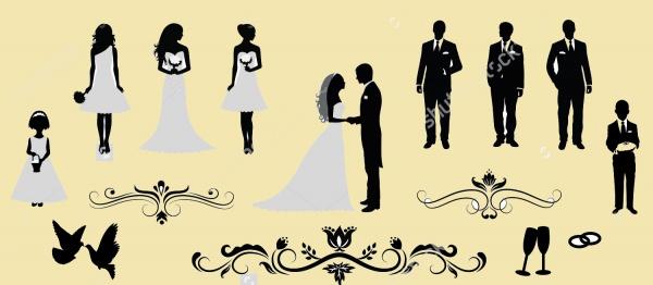 Wedding Silhouettes Vectors