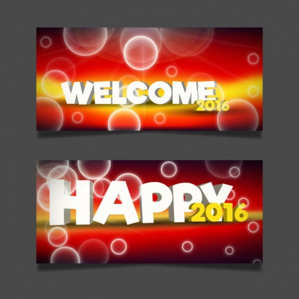 Welcome New Year Banners in Bokeh Style