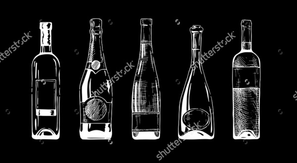 White & Black Wine Bottle Vector