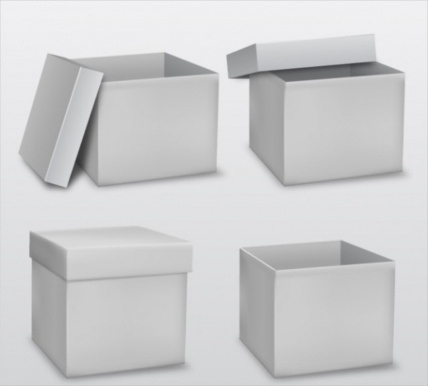White Cardboard Box Packaging Vector