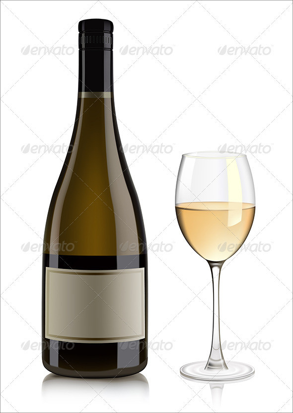 Wine Bottle & Glass PSD Vector