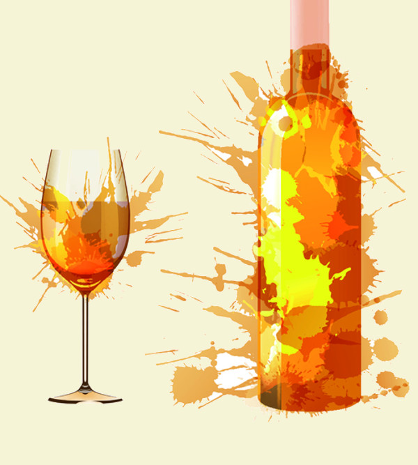 Wine Bottle with Splash Effect Vector