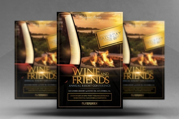 Wine & Friends Flyer Design Template