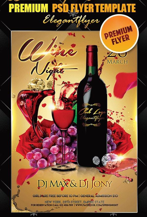 Wine Night Invitation Flyer PSD