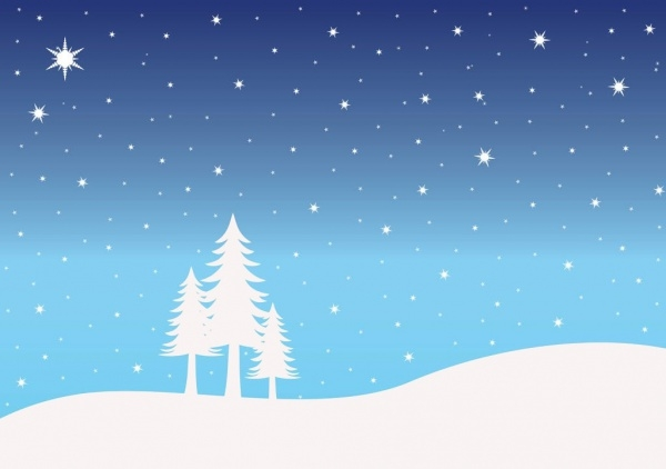 Wonderful Winter Snow Landscape Illustration