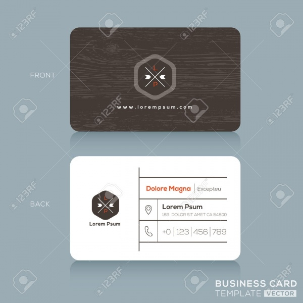 wood modern business card design template