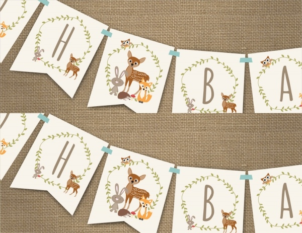 Woodland Baby Shower Banner for a Boy