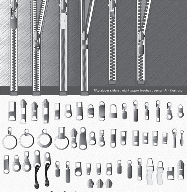 Zipper Chain Brushes for Photoshop