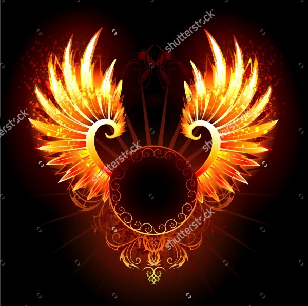 artistically painted fire wings illustration