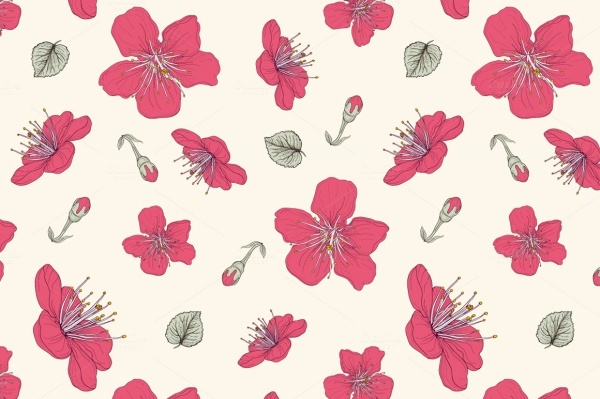 Cherry Blossom Vector Pattern