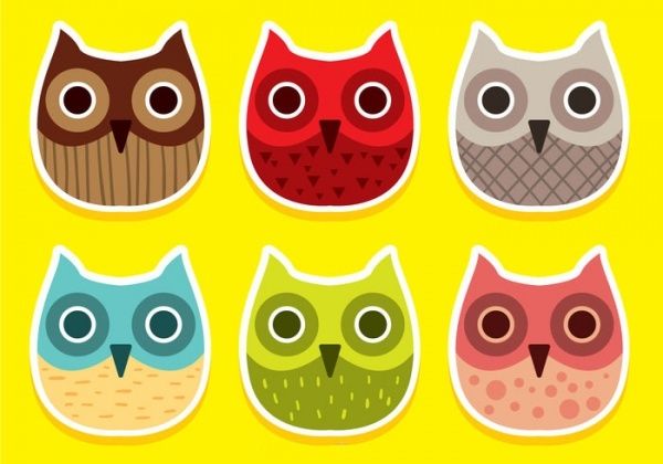 cute Owl Face Vectors