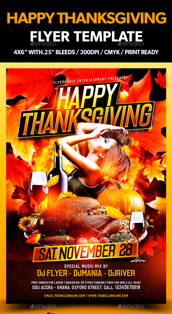 Editable Happy Thanksgiving Flyer Design