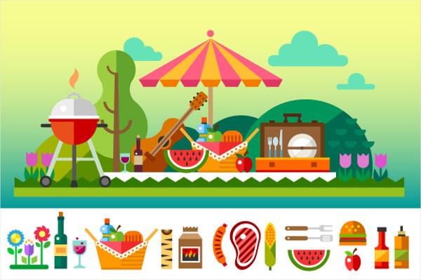 flat Design Summer picnic Illustration