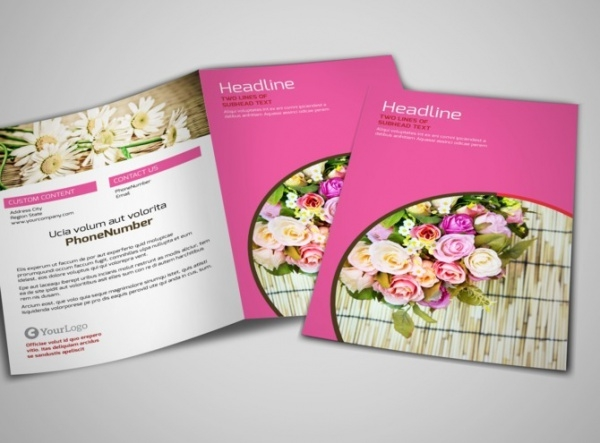 Flower Shop Bi-Fold Brochure Template