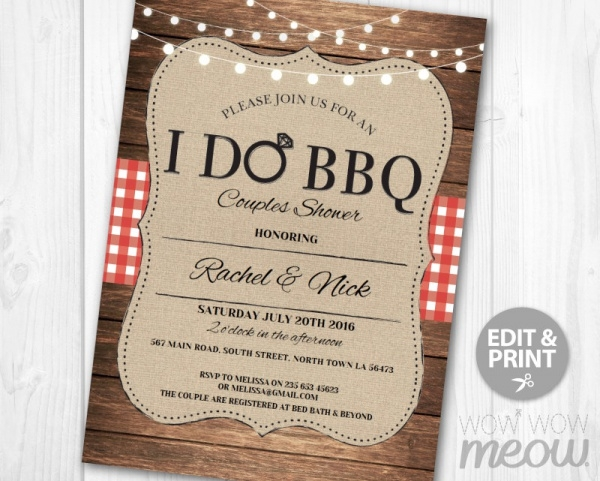 BBQ Invitation Couples Shower