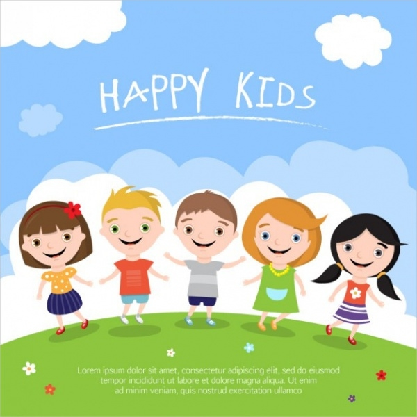 kids illustration Free Vector