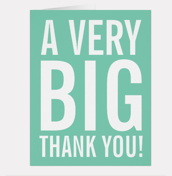 oversized mint Thank You greeting card