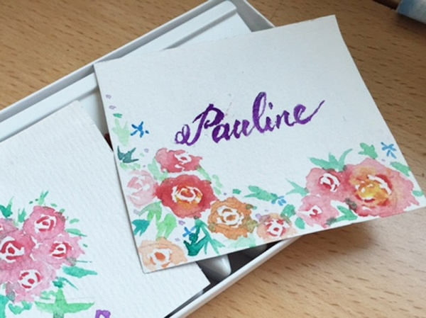 watercolour name cards for kids