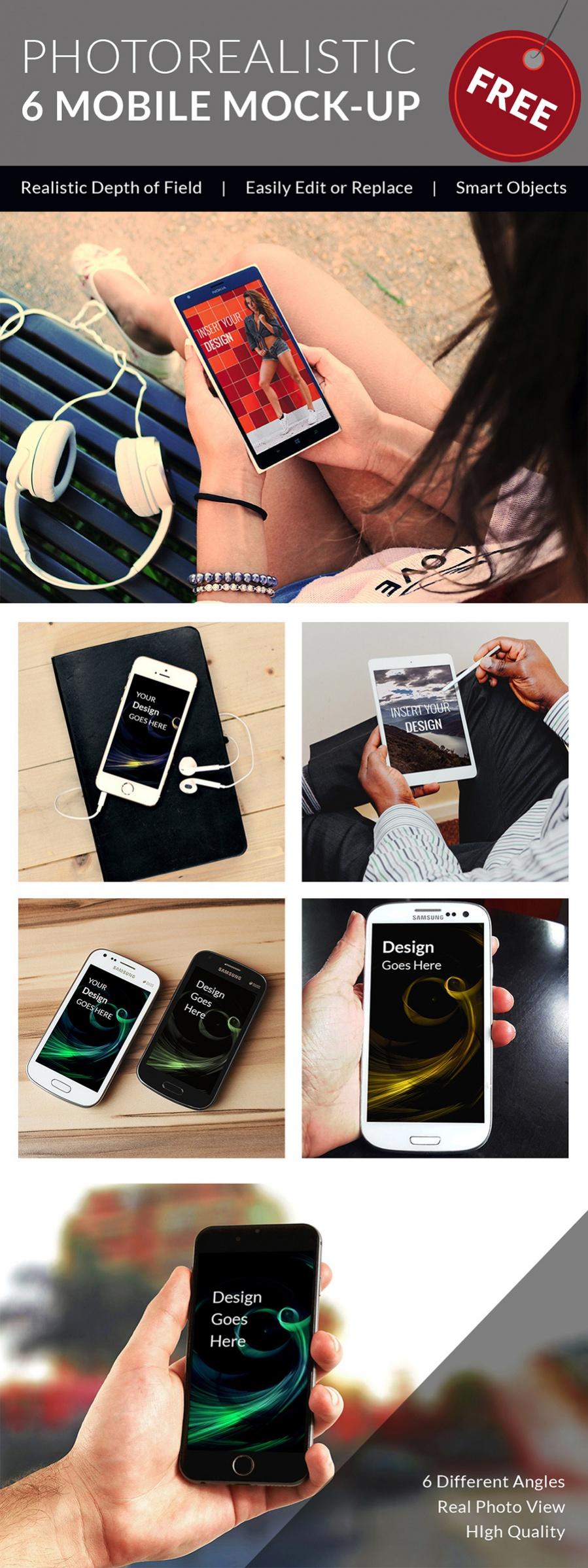 6 realistic mobile mockups bundle