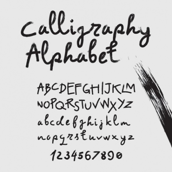 Alphabet in Calligraphy Brush