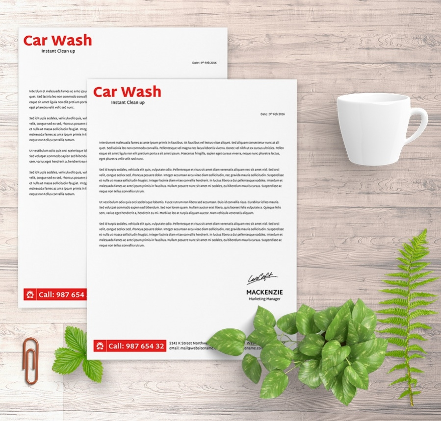 amazing carwash letterhead template