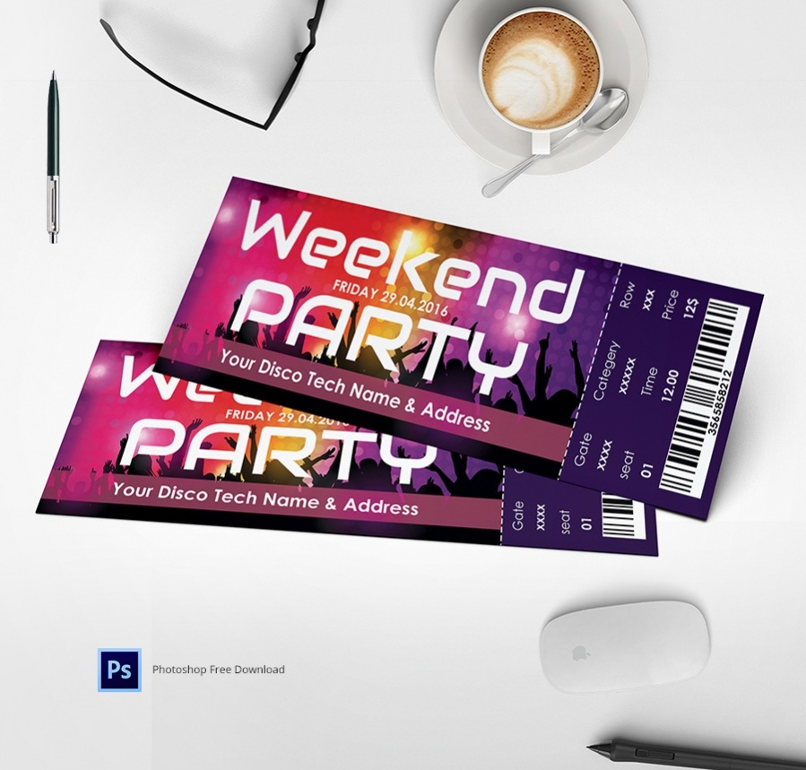 Amazing Weekendparty Ticket Template
