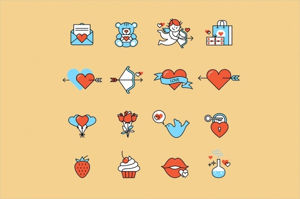 Anniversary Flat Vector Icons