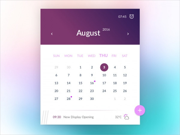 Appointment Event Interface Calendar