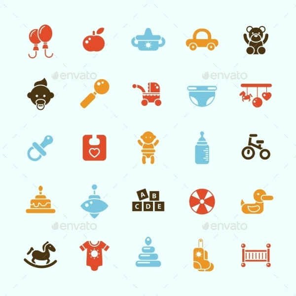 Baby Shower Invitation Icons