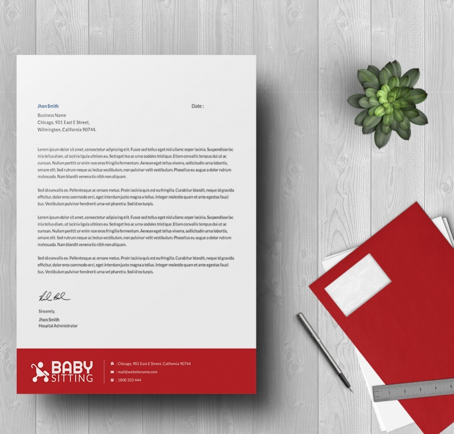 baby sitting letterhead template for free