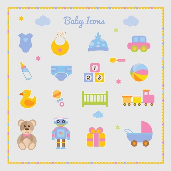 Baby boy set of Graphic icons