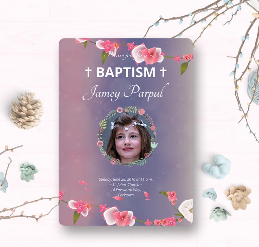 batism christening invitation template