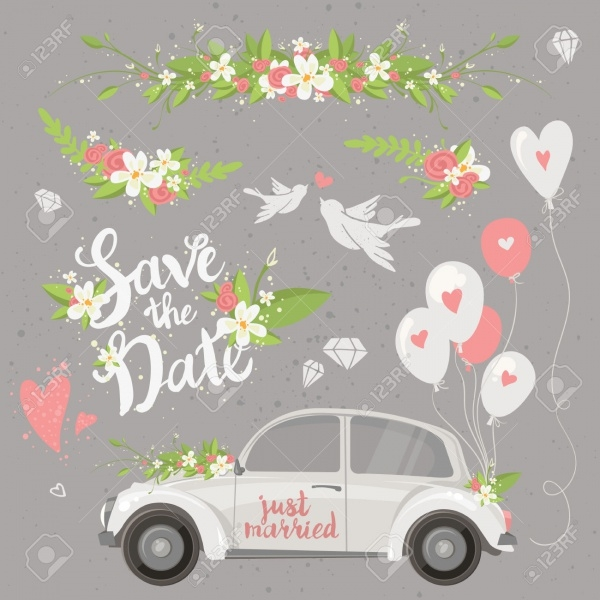 beautiful wedding clipart set with retro car