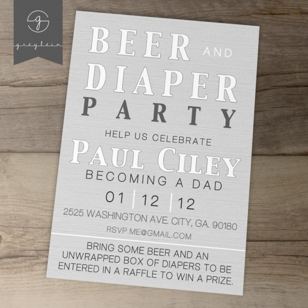 Beer and Diaper Party Invites