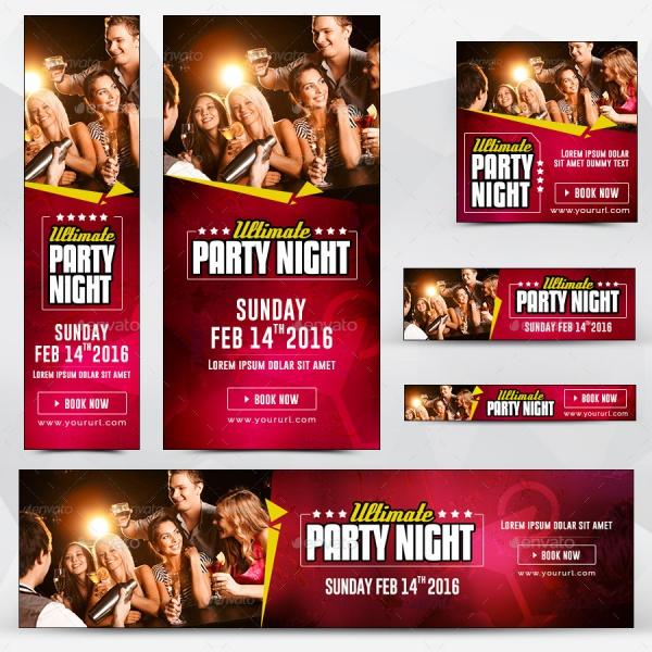 Birthday Night Party Banner Design
