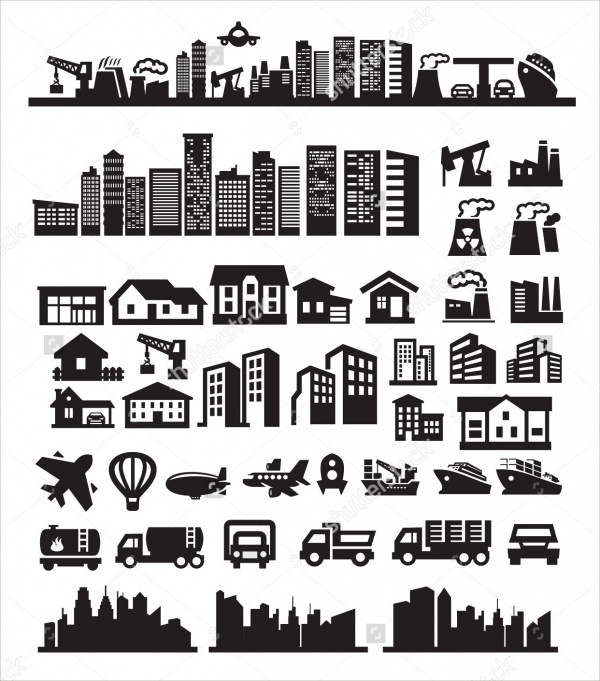 Black Colored City Icons