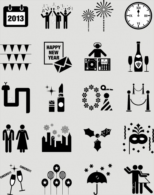 Black Colored New Year Icons
